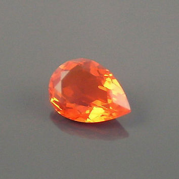 Fire Opal: 1.57ct Red Orange Pear Shape Gemstone, Loose Natural Hand Made Mexican Faceted Precious Gem, OOAK Cut Crystal Jewelry Supply P11