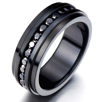 Black Eternity Ring/CZ Eternity Band/Cubic Zirconia Eternity Band/Unisex Ring/ Black  Ring/Anniversary Gift for Boyfriend/Unique Mens Rings