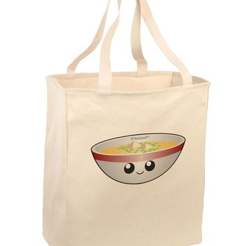 Cute Miso Soup Bowl Large Grocery Tote Bag by TooLoud