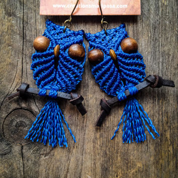 Macrame owl earrings on perch - Custom order - boho bohemian hippie chic gypsy woodland elf micromacrame micro macrame