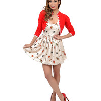Cream & Multicolor Classic Tattoo Cutout Flare Dress