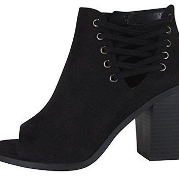 Cambridge Select Womens Open Toe Corset Side Laceup Chunky Stacked Block Heel Ankle Bootie