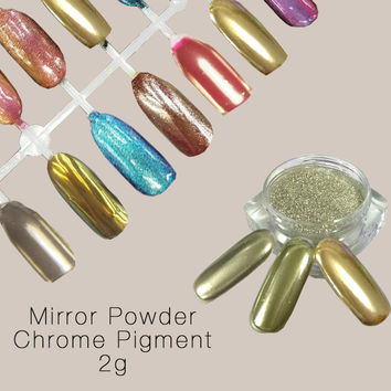 2g Mirror Powder Gold Pigment Powder Aluminium Powder Chrome Pigment Nail Glitters Nail Sequins Chrome Pigment