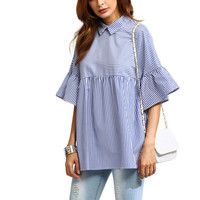 LASPERAL High Quality Blouses Women's Shirts Striped Summer Blusa Loose Ruffles Casual Blue Fashion Tops Sleeve Blusa 2017 New