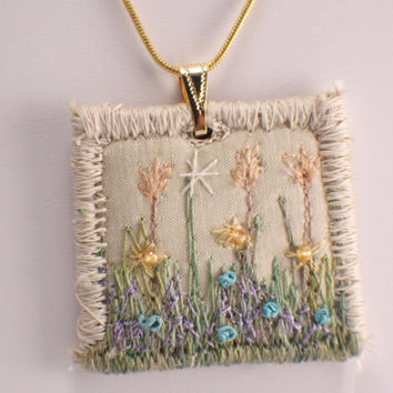 Embroidered floral pendant peach tulips fiber embroidered spring garden cream square necklace garden lover silk embroidered grass garden