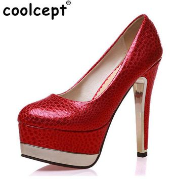 Coolcept Size 33-47 Ladies Polka Dot High Heels Shoes Fashion Platform Pumps Round Toe Spike Toe Party Ladies Office Footwear