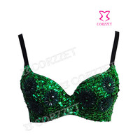 Punk Party Club Wear Women Green All-over Chrysanthemum Floral Beaded Sequins Sexy Bra Bralet Bralette Underwear For Performance