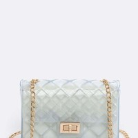 Clear Quilted Clutch Bag