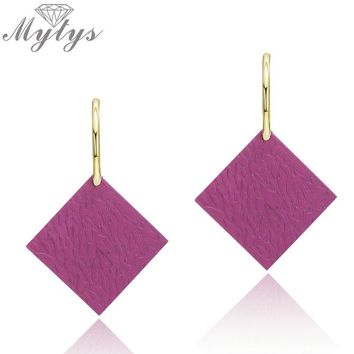 Mytys 4 Color Design Fashion Square Color Dangle Drop Earrings for Women Trendy Party Statement Earrings CE386 CE387 CE388 CE389