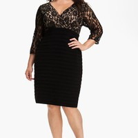 Plus Size Women's Adrianna Papell Lace Bodice Banded Sheath Dress