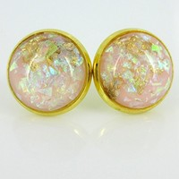 Shiny Gold-tone Pink Leaf and Cellophane Resin Stud Earrings 12mm