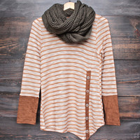 stripe woven top with contrasting suede design