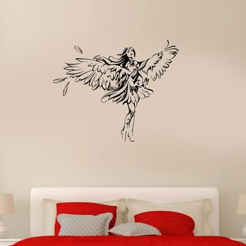 Wall Decal Girl Eagle Bird Angel Romantic Wings Vinyl Sticker (ed1113)