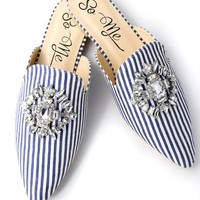 Yates Navy Striped Rhinestone Loafer Slides