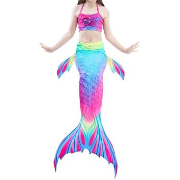 3Pcs Girls Mermaid Tail Swimming Swimwear Swimmable Bikini Set Costume Beachwear