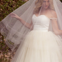 """Double Drop Wedding Veil with Horsehair Border, Bridal Illusion Veil w/ Blusher and Ribbon Edge, 1"""", 2"""", 3"""", Style: Double Horsehair #1207"""