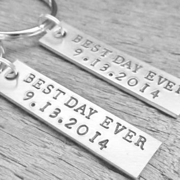 SET of 2 Best Day Ever Couples Key Chain Custom  With DATE WEDDING Keychains Hand Stamped Personalized Made To Order Anniversary Engagement