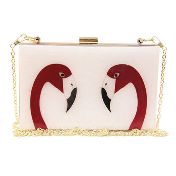 White Flamingo Print Clutch Bag