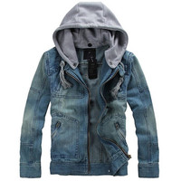 Men's Casual Cool Washed Denim Jeans Jacket with Hood
