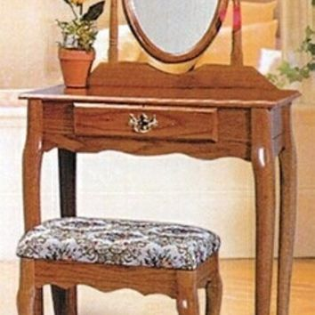 3 pc oak finish wood vanity set with Vanity table, mirror and bench
