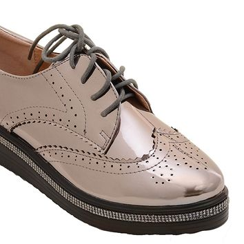 Bling Jewels Lace Up Vegan Leather Women s Platform Oxford Wedge 32c832937