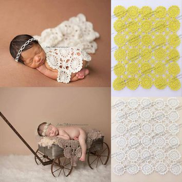 Handmade Crochet baby blanket photography props Blankets Newborn Photography Prop,Rosette Wrap Baby Pattern Knitted Photo Prop Z