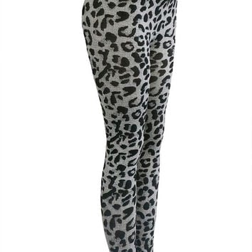 Animal Printed Leggings, Grey-Black