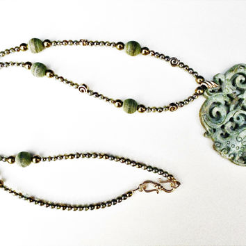 Carved Green Oriental  Butterfly Pendant with Czech Beads and Bronze Necklace and Earrings