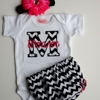 240d36f617e9 Chevron Personalized Baby Girl Clothes Newborn Gril Take Home Ou