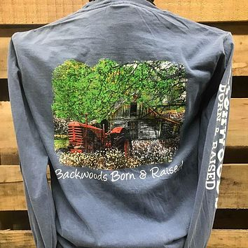 Backwoods Born & Raised Tractor in Cotton Field Country Comfort Colors Long Sleeves Bright Unisex T Shirt