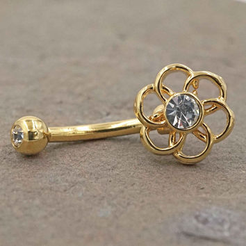 Gold Geometric Flower Daith piercing Rook Earring Eyebrow Ring