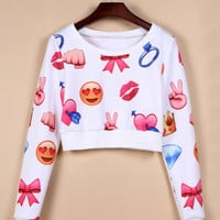 White Emoji 3D Print Long Sleeve Cropped Sweatshirt
