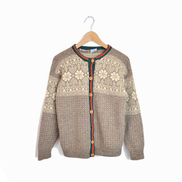 Vintage Nordic Fair Isle Wool Snowflake Cardigan Sweater - women's m/l