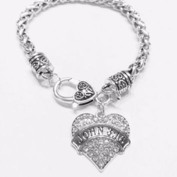 Crystal John 3:16 Bible Scripture Christian Faith Religious Charm Bracelet