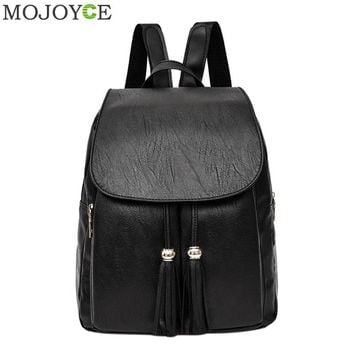 Women Autumn Casual Leather Backpack Korean Fashion All-Match Tassel Bag Vintage Mochila Casual Rucksack Travel Female Backpacks