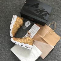 SPBEST SUPREME X NIKE AIR MORE UPTEMPO SNEAKERS GOLD
