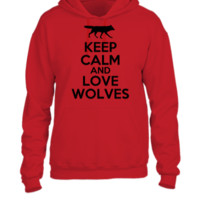 keep calm and love wolves - UNISEX HOODIE