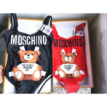 MOSCHINO Summer Popular Ladies Lovely Bear Print Vest Type One Piece Bikini Swimsuit Bathing Black