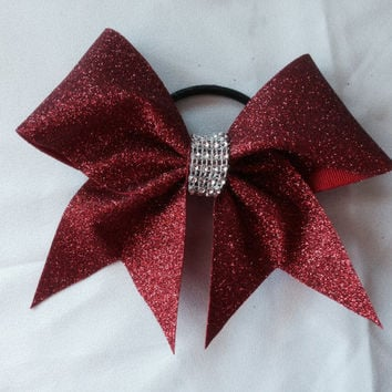 Red sparkle cheer bow