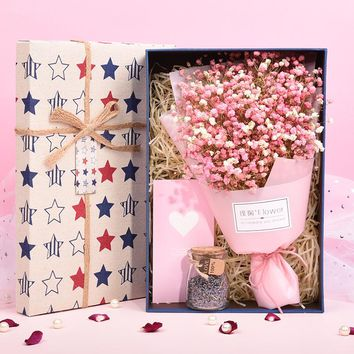 Gypsophila dried flower bouquet gift box eternal flower birthday send girlfriend flower Valentine's Day gift dried flower bouquet