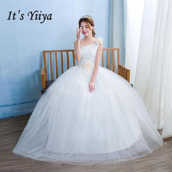 Free Shipping Vestidos De Novia Real Photo One Shoulder Lace Cheap Wedding Dress White Flower Princess Bridal Gowns Frocks HS234