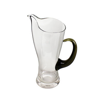 Mid-Century Martini Cocktail Pitcher Clear Glass Green Handle