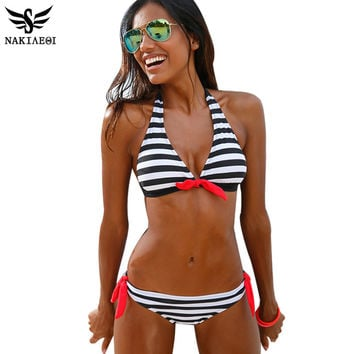 NAKIAEOI 2016 Sexy Bikinis Women Swimsuit Swimwear Halter Top Plaid Brazillian Bikini Set Bathing Suit Summer Beach Wear Biquini