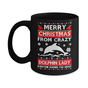 Merry Christmas From Crazy Dolphin Lady Sweater Mug