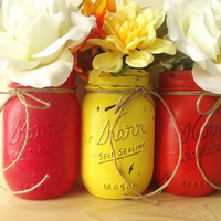 Mason Jars, Three, Hand Painted Mason Jars - Rustic - Style Painted Mason Jars -- Red, Yellow and Orange