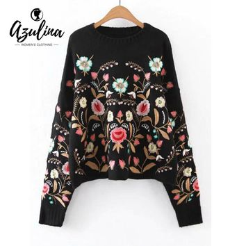 AZULINA Women New 2017 Autumn Luxury Ethnic Navy Floral Embroidered Oversized Sweater Drop Shoulder Winter Warm Knitted Pullover