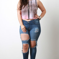 Plus Size Distress Triple Hole Skinny Jeans