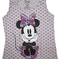 Disney Juniors Minnie Mouse Retro Floral Tank Top (Large, Gray w/ Hearts)