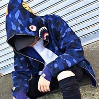Bape Aape New fashion camouflage couple hooded long sleeve sweater