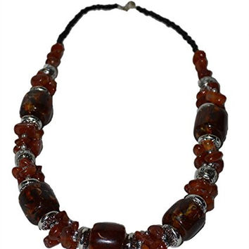Moroccan Jewerly Berber Necklace Brown Glass and Silver Beads